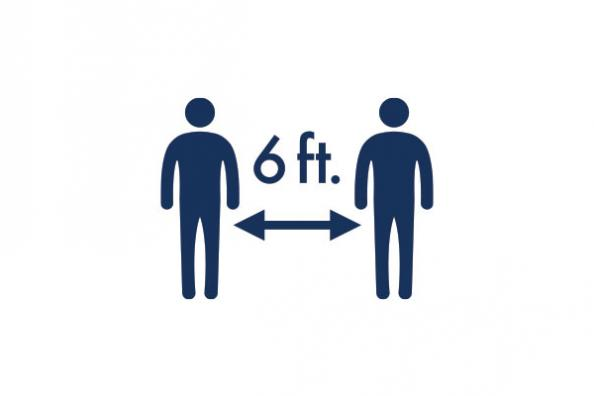 An icon showing 6ft of distancing between people