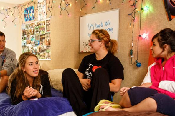 Saint Mary's students in dorm room.