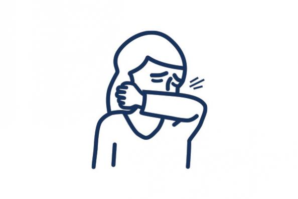 An icon of a person sneezing into their elbow