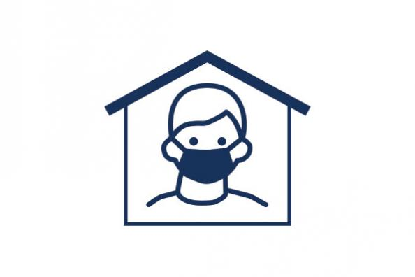 An icon of a person staying home with a mask on