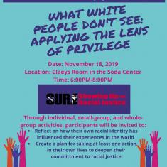 """Image for SMC Student Workshop - """"What White People Don't See: Applying the Lens of Privilege"""""""