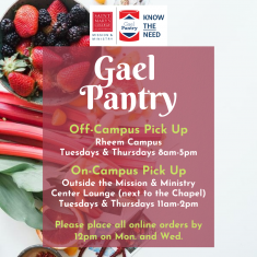 Image for GaelPantry Order Rheem Campus Pickup Hours