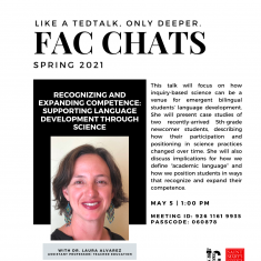 """Image for Fac Chats: Dr. Laura Alvarez - """"Recognizing and Expanding Competence: Supporting Language Development Through Science"""""""