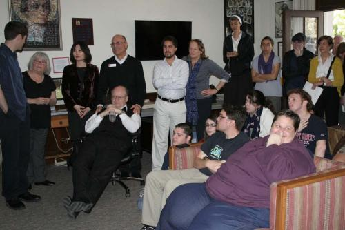 Once the first puff of white smoke was seen rising from the Sistine Chapel, students, faculty, staff, Brothers and Sisters gathered at the Mission & Ministry Center to wait for the big news.