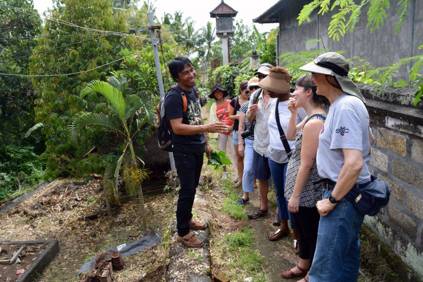2016 Bali Learning Journey participants on a herb walk in Ubud, Bali