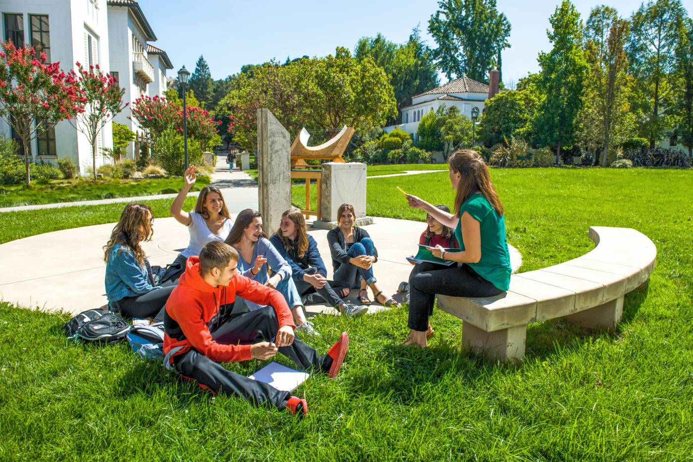 Students having class on the lawn