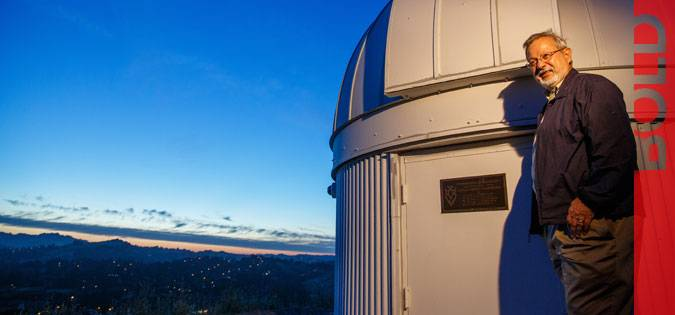 Professor Ron Olowin next to the observatory.