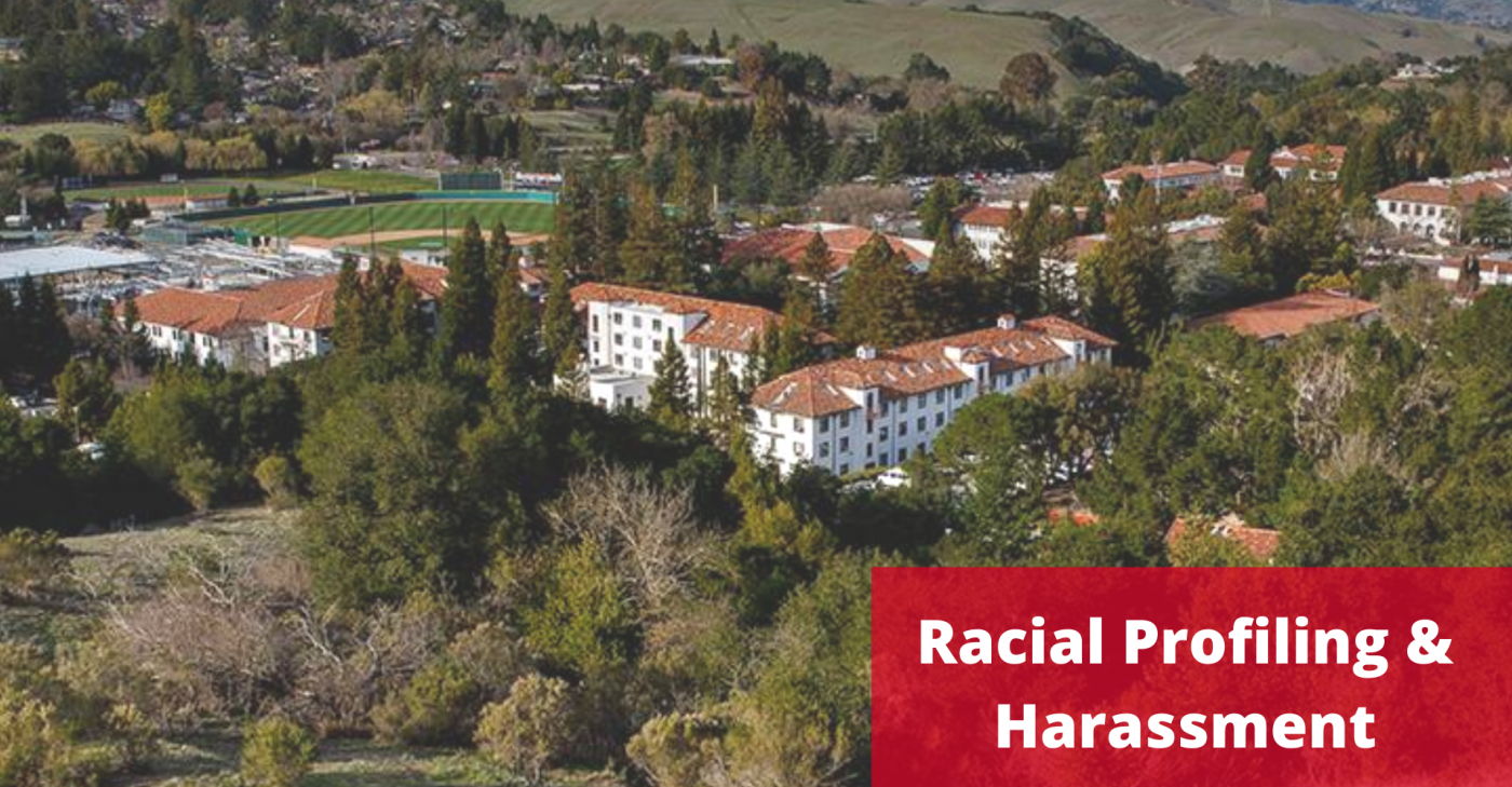 image of residential buildings with words Racial Profiling and Harassment over it