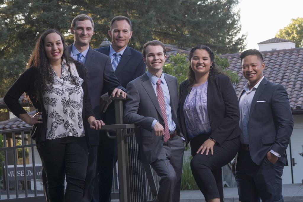 The Accounting Association Executive Team: including Sanchez; John Vanya, Vice President; Nicola Malabed, VP of Student Involvement; Brandon Reach, VP of Finance; Ryan Bandaccari, VP of Student Relations; and Marissa Dudum, Executive Intern