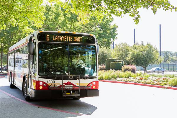 """Bus with """"Lafayette Bart"""" on the front."""