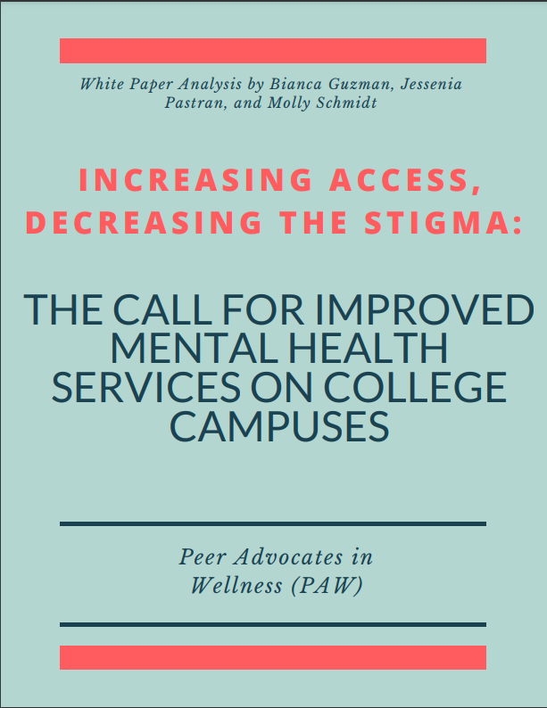Title page of the white paper: Increasing access, decreasing the stigma