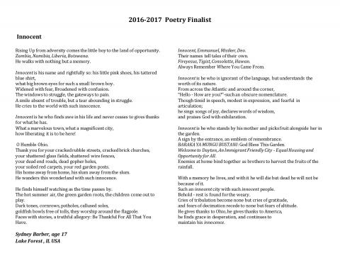 2016-17 River of Words Finalist