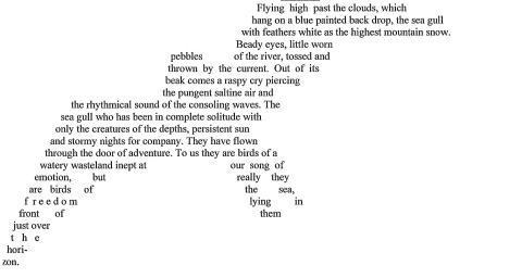 Seagull shape poem