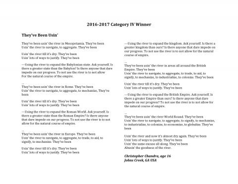 River of Words 2016-17 Winner
