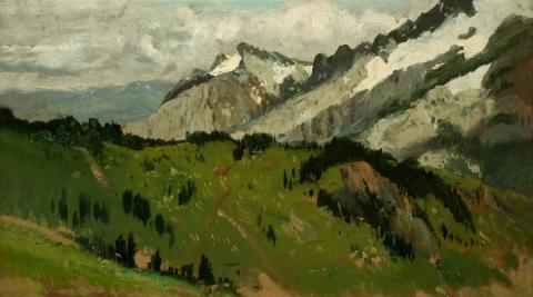 William Keith, Tatoosh Range, Washington, 1888, Oil on canvas, 9 ½ x 17 inches, Collection of Saint Mary's College Museum of Art,  Gift of Mary McHenry Keith, 1934, 0-100