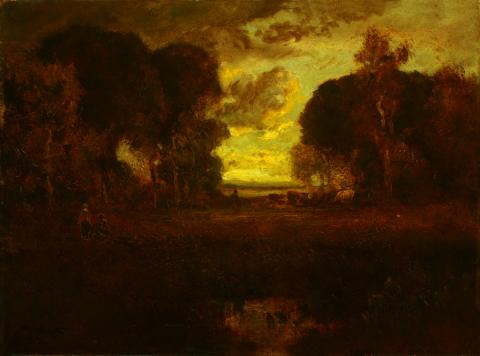 William Keith, Dreamy Russet Trees and Meadow with Bright Evening Sky, 1900-1911, Oil on canvas, 18 x 24 ⅛ inches, Collection of Saint Mary's College Museum of Art,  Gift of Mrs. Andrew Welch, 0-104