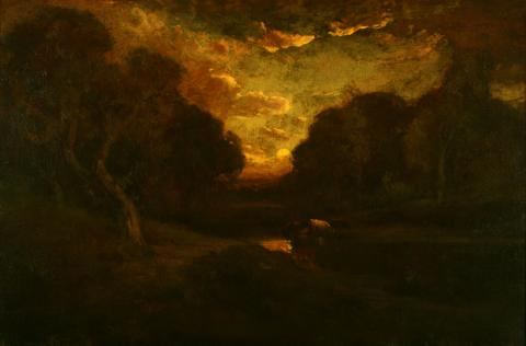 William Keith, Sunset and Gold-Edged Clouds Beyond Somber Woods, 1906-1911, Oil on canvas, 19 ½ x 29 ½ inches, Collection of Saint Mary's College Museum of Art, Gift of Mrs. Henrietta Blanding Lehman, 0-108