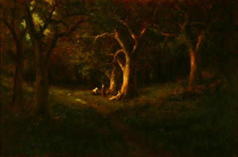 William Keith, Oak Forest With Three Figures, 1906-1911, Oil on canvas, 40 ¼ x 60 ¼ inches, Collection of Saint Mary's College Museum of Art,  Gift of Joseph Blake Koepfli, 1961, 0-109