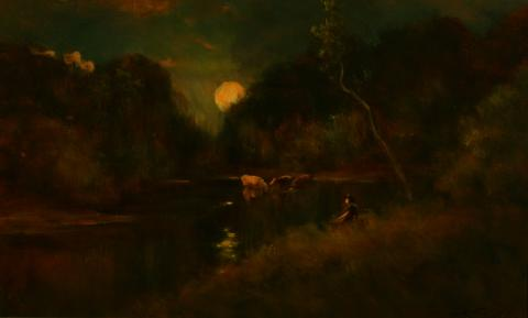 William Keith, Rising Moon, Wading Cattle, circa 1900-1911, Oil on canvas, 17 ½ x 29 ½ inches, Collection of Saint Mary's College Museum of Art,  0-110