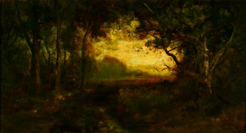 William Keith, Twilight Hour, 1891, Oil on canvas, 21 x 40 inches, Collection of Saint Mary's College Museum of Art,  Gift of Robert and Richard Gump in memory of Livingston Gump, 1947, 0-111