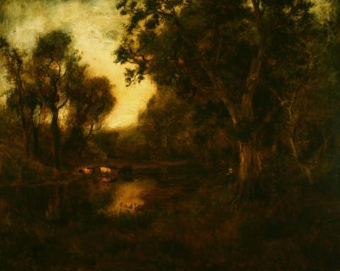 William Keith, Woodland Stream with Cows, circa 1890-1911, Oil on canvas, 39 ½ x 49 ½ inches, Collection of Saint Mary's College Museum of Art,  Gift of Charles F. Morse, Los Angeles, 0-113