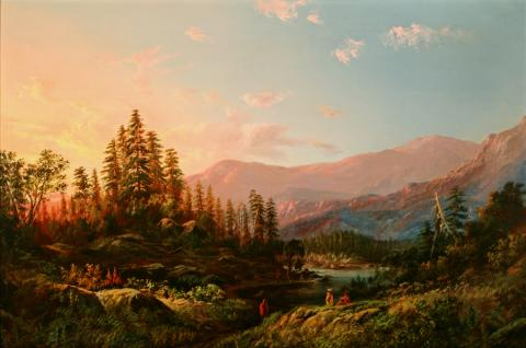 William Keith, Sunrise, Columbia River, 1869, Oil on canvas, 24 x 36 inches, Collection of Saint Mary's College Museum of Art,  Gift of Walter Plunkett,1956, 0-116