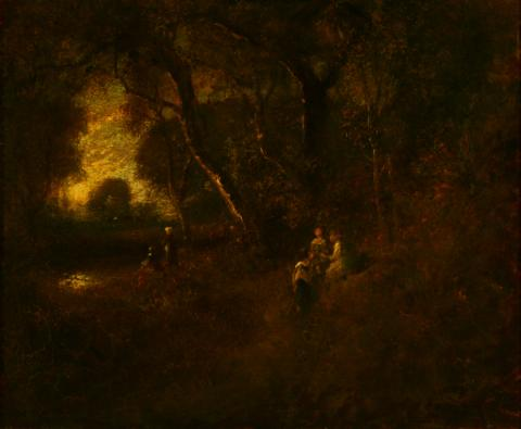William Keith, Autumn Reverie, 1900-1911, Oil on canvas on board, 17 ¾ x 21 ½ inches, Collection of Saint Mary's College Museum of Art,  Gift of William E. Colby, 1938, 0-117