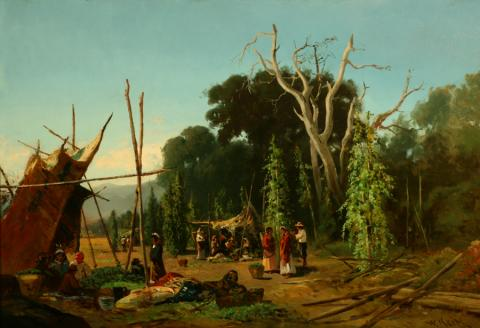 William Keith, Indian Camp (Hop-Pickers), early 1880s, Oil on canvas, 22 x 33 inches, Collection of Saint Mary's College Museum of Art,  Gift of Mary B. Alexander in memory of her husband, Wallace Alexander, 0-118