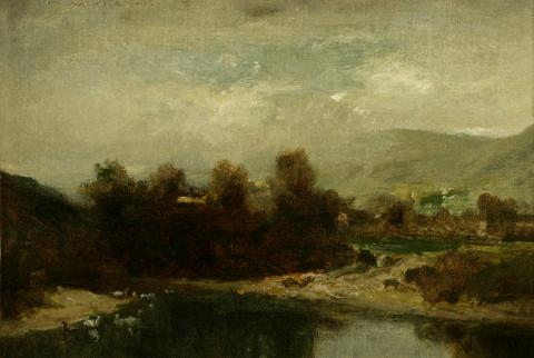 William Keith, Gray Day, Ducks in Water, 1890-1899, Oil on canvas mounted on paperboard, 9 x 13 inches, Collection of Saint Mary's College Museum of Art,  Gift of Henry L. Day, 0-124