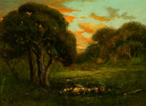 William Keith, Sunset Reflections, 1900-1911, Oil on paper mounted on cardboard, 18 ¾ x 25 ¾ inches, Collection of the Hearst Art Gallery, Saint Mary's College of California, Gift of Mrs. Frank Burkhard, 0-130