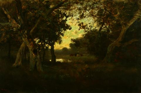 William Keith, Oaks and Meadow, Light Sky and Pool, circa 1893, Oil on canvas, 20 x 30 inches, Collection of Saint Mary's College Museum of Art,  Gift of Msgr. Charles A. Ramm through Rt. Rev. J.M. Byrne, 1952, 0-134