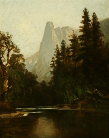 William Keith, Sentinel Peak and Merced River, circa 1872-1883, Oil on canvas, 21 ½ x 17 ¼ inches, Collection of Saint Mary's College Museum of Art,  Gift of Dr. William S. Porter, 1934, 0-137