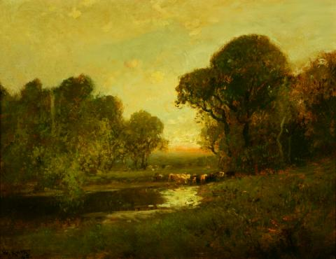 William Keith, Rosy Horizon Sky, Trees and Cattle at Stream, 1900-1911,	 Oil on canvas, 14 x 18 inches, Collection of Saint Mary's College Museum of Art,  Gift of William E. Colby, 0-138