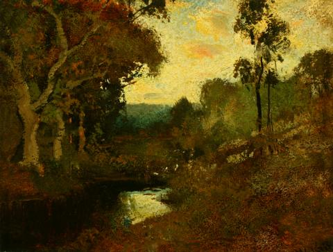 William Keith, Marin County, circa 1890-1911, Oil on canvas mounted on composition board, 7 x 9 inches, Collection of Saint Mary's College Museum of Art,  0-142