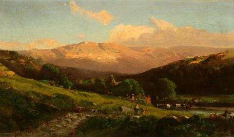William Keith, Coast Range, Early Evening Glow, circa 1870s Oil on canvas, 8 x 13 inches Collection of Saint Mary's College Museum of Art  Gift of Mrs. Hilda Palache, 1945 0-149