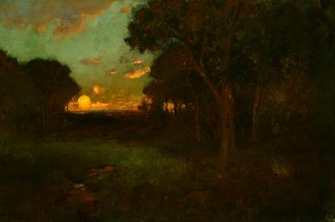 William Keith, Sunset Beyond Lone Dark Wood and Meadow, circa 1890s, Oil on canvas, 16 x 24 inches, Collection of Saint Mary's College Museum of Art,  0-155