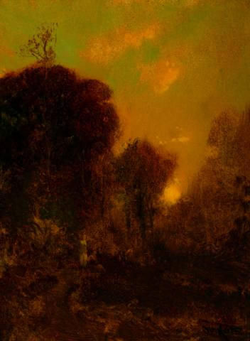 William Keith, Setting Sun Beyond Golden Brown Trees, 1906-1911, Oil on composition board, 16 x 12 inches, Collection of Saint Mary's College Museum of Art,  Gift of Henrietta Blanding Lehman, 0-160