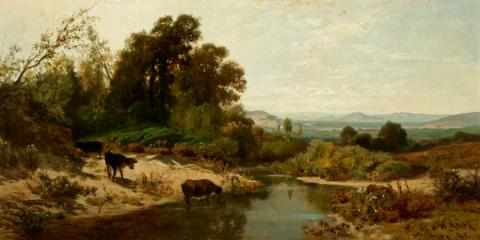 William Keith, Peaceful Valley, 1882, Oil on canvas, 18 x 36 inches, Collection of Saint Mary's College Museum of Art,  Gift of F.C. Dougherty, 1955, 0-162