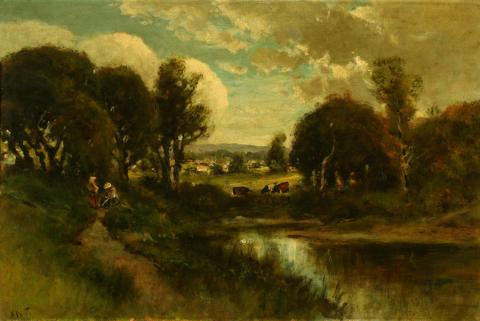 Attributed to William Keith, Lagoon in Forest with Reflections, 1900-1911, Oil on canvas, 20 ¼ x 30 inches, Collection of Saint Mary's College Museum of Art,  Gift of Charles Tait, 1957, 0-163