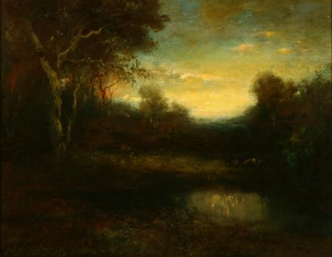 William Keith, Woodland Scene with Cows and Pond, circa 1890-1899, Oil on canvas, 15 x 19 ½ inches, Collection of Saint Mary's College Museum of Art, 0-17