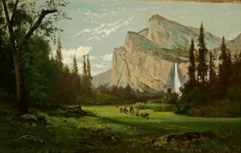 William Keith, Yosemite Valley with Bridal Veil Falls, circa 1880, Oil on canvas, 14 x 22 inches, Collection of Saint Mary's College Museum of Art,  Gift of Reverend Joseph McAuliffe, 0-178