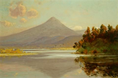 William Keith, Klamath Lake, 1907-1908, Oil on canvas, 16 x 24 inches, Collection of Saint Mary's College Museum of Art, Gift of Averell Harriman, 1948, 0-18