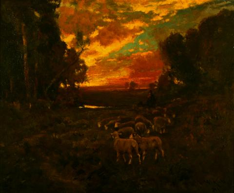 William Keith, Evening Glow, 1891, Oil on wood, 23 ¾ x 28 ¼ inches, Collection of Saint Mary's College Museum of Art,  Gift of Celia Tobin Clark, 1949, 0-1