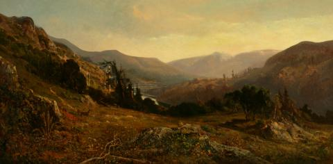 William Keith, Russian River Panorama, 1876, Oil on canvas, 36 x 72 inches, Collection of Saint Mary's College Museum of Art,  Gift of Mr. Harmon Edwards, 0-212