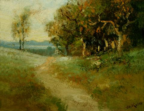 William Keith, Oaks on Hill Crest, 1890-1899, Oil on composition paperboard, 7 ½ x 9 ¼ inches, Collection of Saint Mary's College Museum of Art,  Gift of Mrs. Hugh Madole, 1956, 0-258