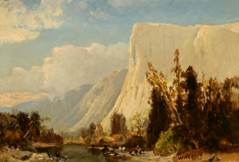 William Keith, El Capitan, circa 1870s, Oil on canvas mounted on composition board, 7 ¾ x 11 inches, Collection of Saint Mary's College Museum of Art,  Gift of Mrs. Hilda Palache, 1945, 0-259