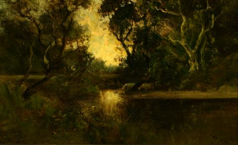 William Keith, Landscape: Cows at Stream, Yellow Sky, circa late 1880s,	 Oil on canvas, 11 1/16 x 18 inches, Collection of Saint Mary's College Museum of Art,  0-260
