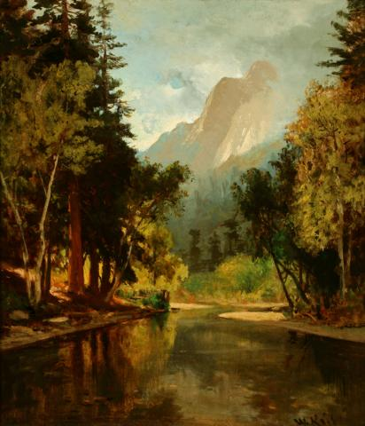 William Keith, Placid Stream, Towering Cliff, Cloudy Sky, 1870s or early 1880s, Oil on canvas, 16 x 14 inches, Collection of Saint Mary's College Museum of Art,  0-264