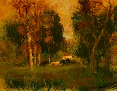 William Keith, Landscape with Trees and Cows, circa 1906-1911, Oil on composition board, 12 ½ x 15 ⅝ inches, Collection of Saint Mary's College Museum of Art,  0-266