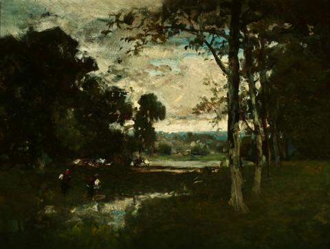 William Keith, Silver Gray Sky Near Munich, 1880s or 1890s, Oil on composition board, 15 x 20 inches, Collection of Saint Mary's College Museum of Art,  Gift of Mary McHenry Keith, 0-282